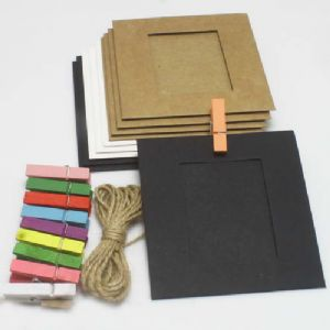 Picture frames Set of materials, Paper, black, white, 9.5cm x 9cm, 10 sheets, [ZPQ0004]